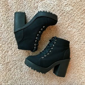 H&M Chunky Black Lace Up Booties